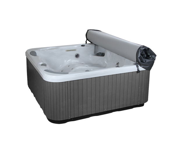 can be rolled up to sit on the end of the spa or use a cover shelf to support it off the spa
